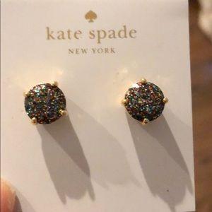 Kate Spade black sparkly studs